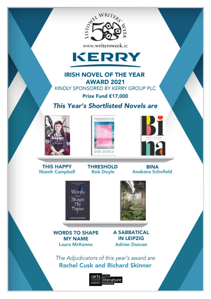 Shortlist for Kerry Group Irish Novel of the Year Award 2021